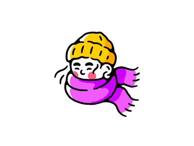 Dress Warmly beanie scarf character girl artwork vector illustration
