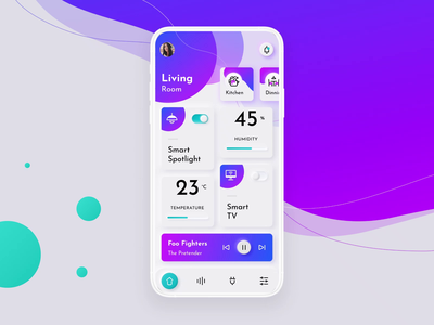 Smart Home App blue purple neomorphism video after effects principle figma smart home iphonex animation clean mobile ios icon app ux ui design