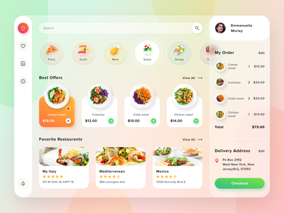 Food Delivery Dashboard glassmorphism dishes restaurants delivery food icons illustrations clean dashboad figma web ux ui