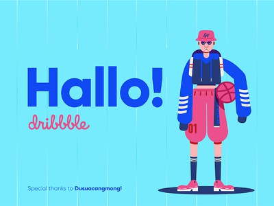 Hallo Dribbble! gydient illustration firstshot dribbble debut character basketball