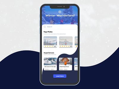 Ski Mobile App Concept realism experiences trending destinations travel ux design ui minimal creative mobile app winter ski
