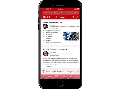 Quora UI Design Idea idea creative app web flat design ui quora