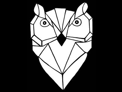 Geometric Owl Logo (Dark) 🦉 minimal owl logo procreate design concept illustration branding creative owl dark illustrator logo