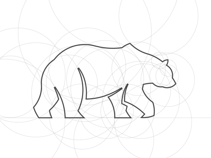 Bear Logo Design Process circles elegant grizzly golden ratio grid nature forest wildlife wild bear fashion symbol panter logo design lux luxury logo identity branding panter vision