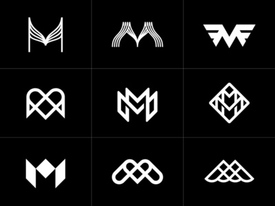 Letter M Monogram Logo Design Collection Set Modern and Classic art classic modern collection typography typo letter type monogram m symbol typeface logo design panter lux luxury logo identity branding panter vision