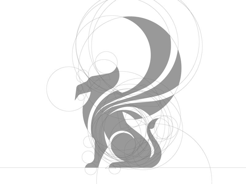 Griffin Logo Design Golden Ratio Grid Process elegant eagle lion wings circles grids goldenratio ratio golden griffin design symbol lux panter logo design luxury logo identity branding panter vision