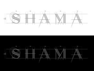 SHAMA Wordmark Gridline Construction elegant blueprint beauty wellness wordmark grid design grid logo grids grid fashion minimal typeface lux logo design panter luxury logo identity branding panter vision