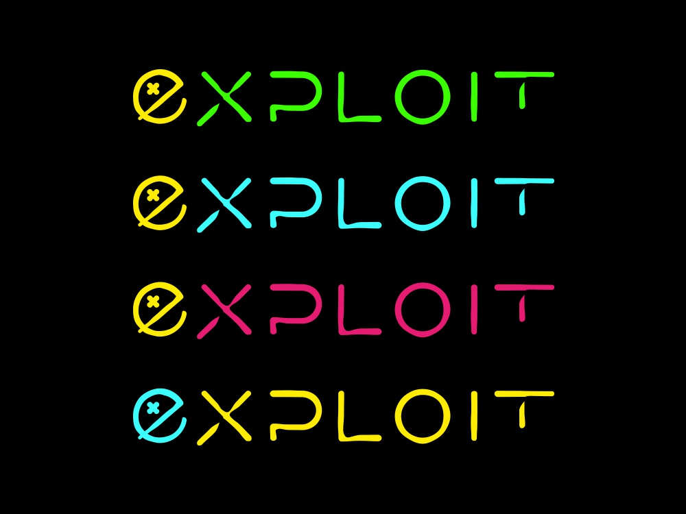 Exploit logo color palette grungy funky logo neon music underground youth young extreme ui panter lux app luxury typeface logo design minimal identity logo branding panter vision