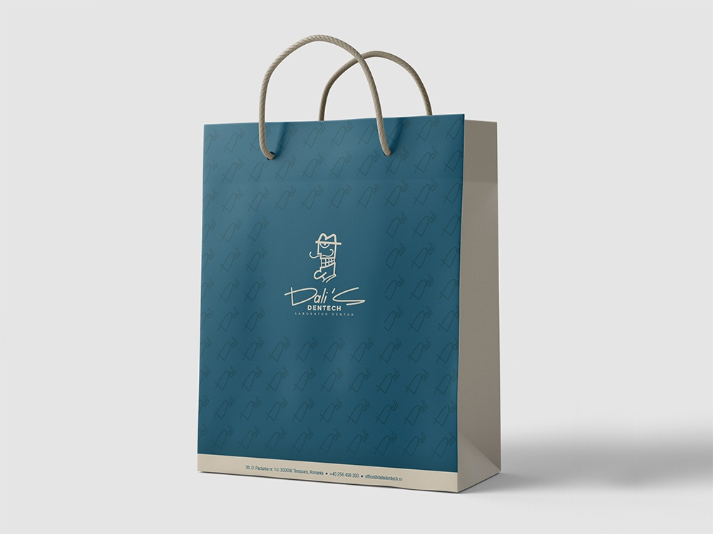Dali's Dentech Paper bag design navy blue modern tech stomatology smiley panter luxury brand smiley face dentist smile cartoon character cartoon pattern paper bag design paper bag mockup mockup illustration luxury branding panter vision