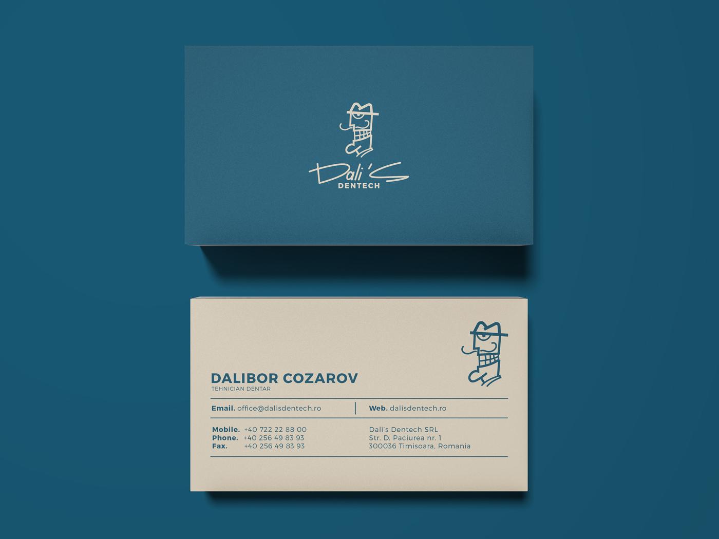 Dali's Dentech Business Card Design cartoon character panter modern business card design tech dentistry dentist stomatology smiley face smile navy blue business card lux minimal luxury logo design identity logo branding panter vision