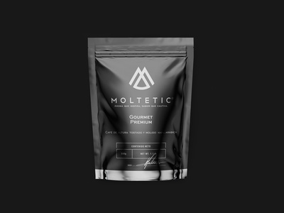 MOLTETIC Coffee packaging pouch design 2 premium coffee shop classy elegant black packaging mockup pouch mockup pouch coffee design minimal panter lux logo design luxury identity logo branding panter vision