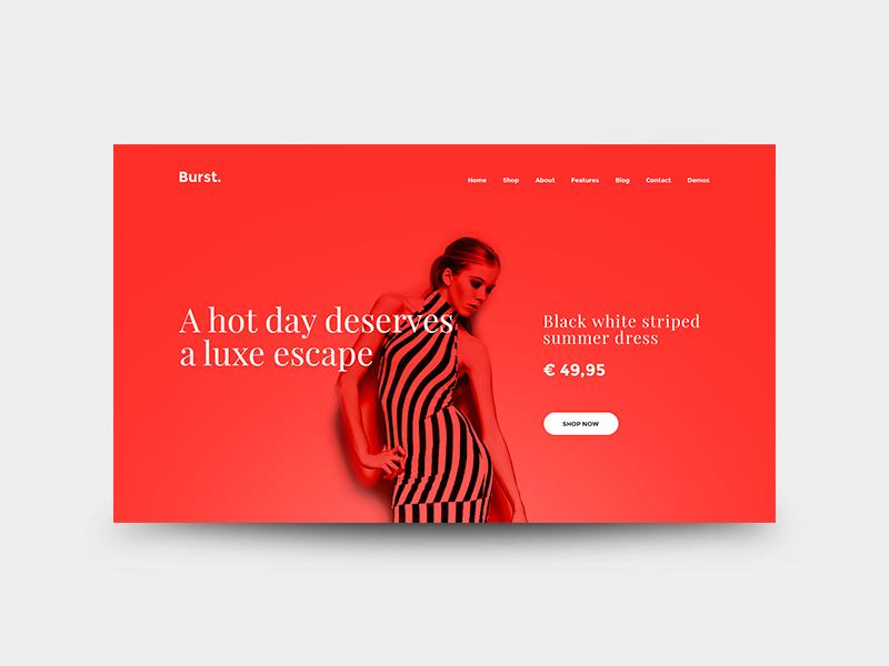 Burst - Multipurpose (E-commerce Page) lady model fashion minimal minimalistic clean red userinterface webdesign e-commerce ecommerce burst