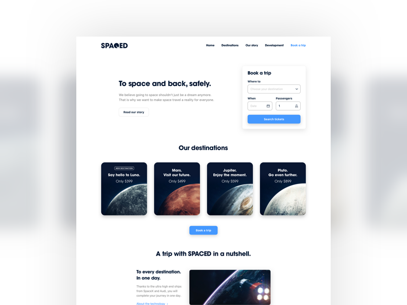 #SPACEDchallenge Website modern minimal semih yilmaz pluto jupiter mars moon planets inspiration interface webdesign space