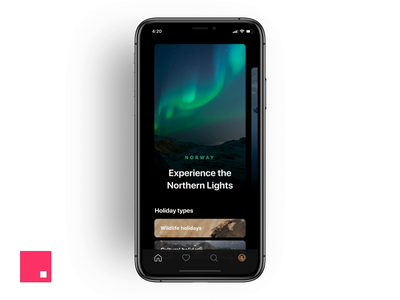 Travel Destinations App minimal ux ui transition motion design mobile invision studio invisionstudio invision interaction night sky space holiday travel earth northern lights design tools design animation