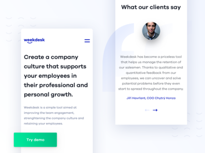 WeekDesk - Mobile Landing Page