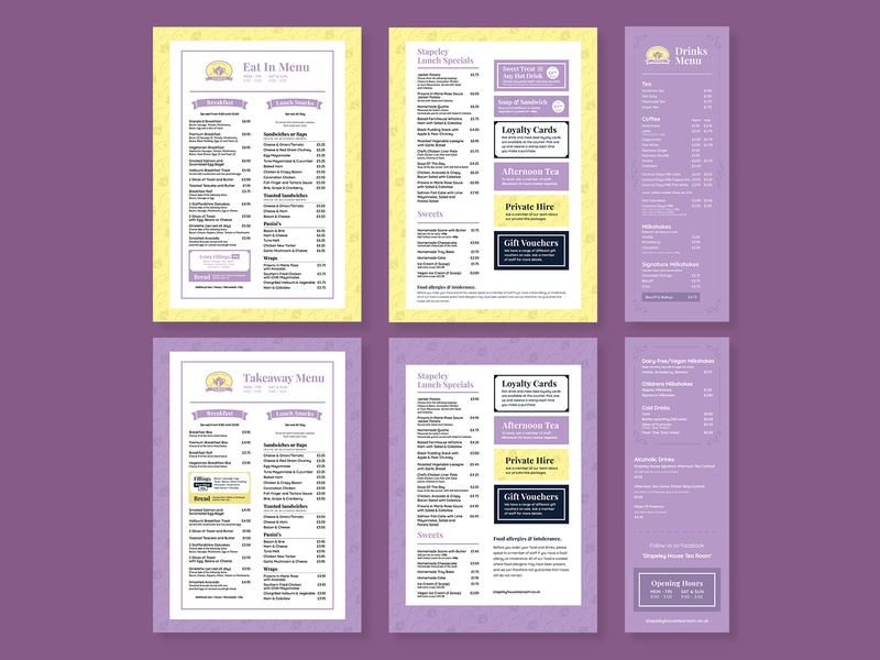 Tea Room Menu Redesign restaurant branding lunch menu drinks menu cafe menu menu restaurant afternoon tea cafe