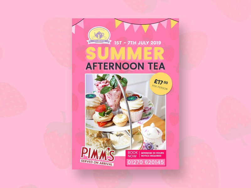 Summer Afternoon Tea Flyer strawberry food cafe bunting yellow pink summer flyer afternoon tea summer