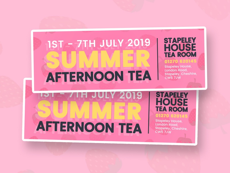 Mini Summer Afternoon Tea Flyers receipt yellow pink cafe afternoon tea summer flyer mini flyer