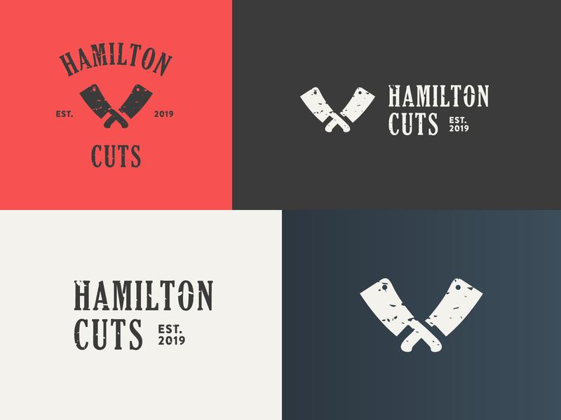 Hamilton Cuts Logo branding texture rough logo icon cleaver beef meat