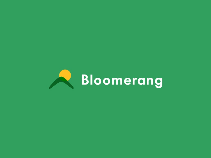 Indoor Gardening Products Retailer Logo - Bloomerang sun modern logos modern logo sanserif logo minimal nature green boomerang sunrise hill field garden