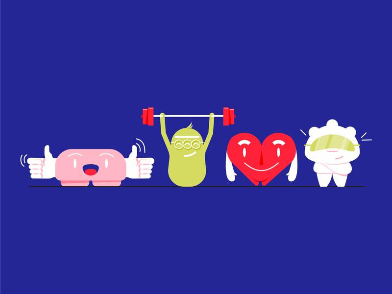 The hormones of happiness part 2 hormones flat illustration design illustration characterdesign characters