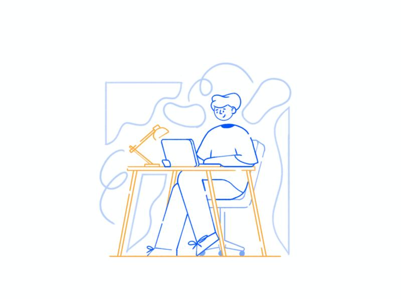 Desk Job Proposal characterdesign character outline drawing style illustration proposal job desk