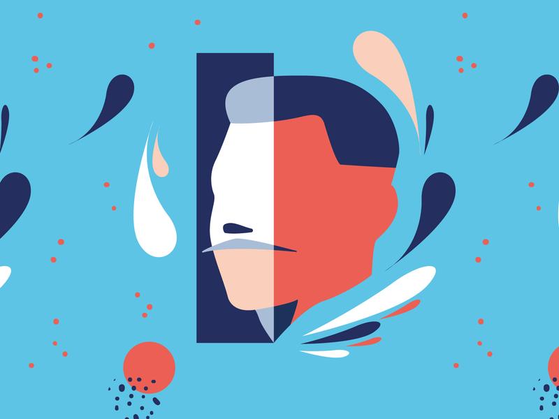 Face Pattern vector seamless blue characterdesign character flat design pattern face