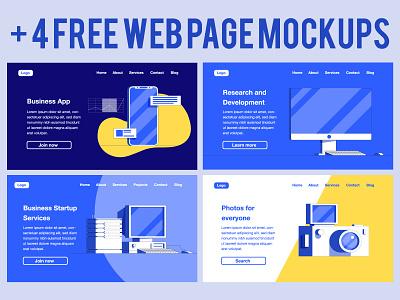 4 Free Web Page Mockups webdesign website uidesign illustration design ui ux mockups page web free