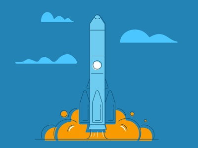 Rocket launch lift off spaceship space outline illustration launch rocket