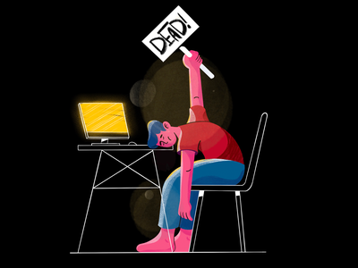 Socially dead social distance covid tired computer desk work design character dead social illustration