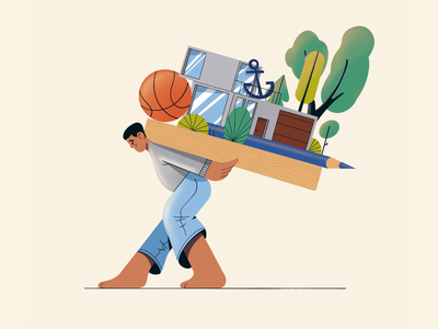 Baggage claim procreate spot illustration web illustration man basketball house carry baggage character design character