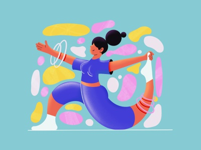 Peace and harmony web spot illustration stretch harmony peace yoga character procreate character illustration illustration