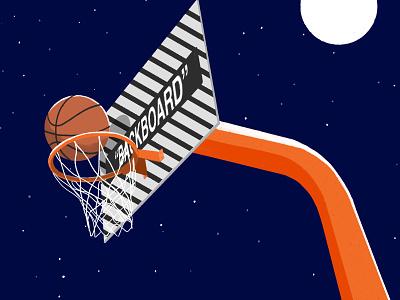 Backboard by Off-White stars night drawing illustration off-white basket net ball shot backboard basketball
