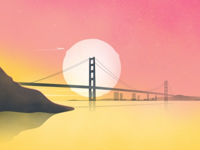 Golden Gate building golden gate san francisco drawing shot dribbble skyline city scape city sunrise illustration bridge