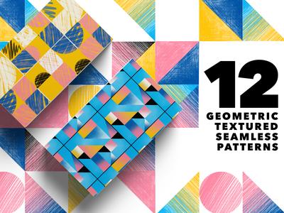 12 Geometric Textured Seamless Patterns