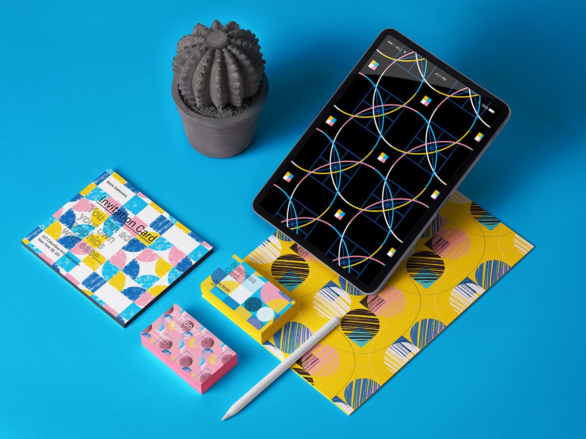 Geometric Patterns color dribbbe shot shapes vector branding texture brush seamless patterns geometric