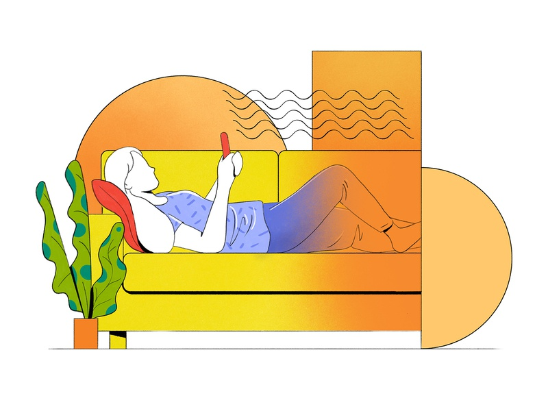 Relax comfy gradient woman sofa product 2d flat texture illustration design character relax