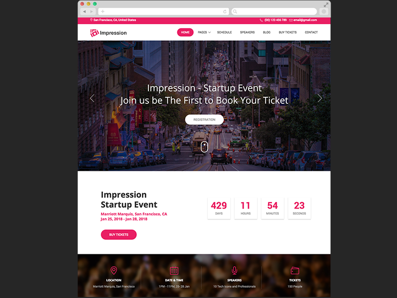 Impression Free Bootstrap HTML Event And Conference Template By