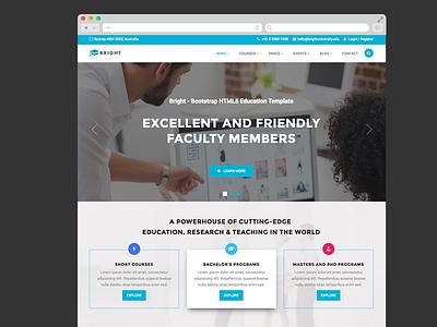 Bright – Free Bootstrap HTML Education Template/Theme university training school institute education course college bootstrap html free freebie