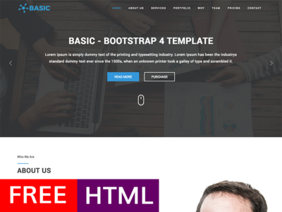 Basic - Free Bootstrap 4 Template bootstrap4 theme business download template bootstrap freebie html free