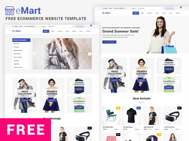 emart is a modern freepremium ecommerce website template crafted for any kind of ecommerce marketplace and online store related sites with the - Free Ecommerce Website Templates