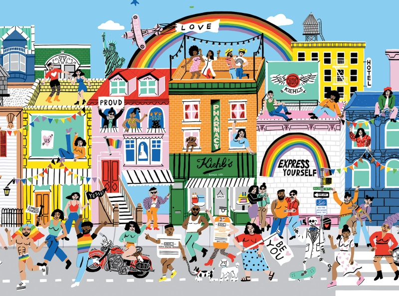 Kiehl's Since 1851 | Pride 2020 design ad commercial people rainbow motion graphics 2d animation animation woman man art color illustration pride pride month queer lgbt city new york kiehls