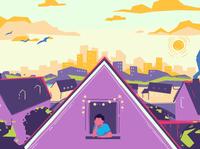 Kids Help Line art building city character design motion graphics 2d animation illustration kids color sky sun house boy design animation