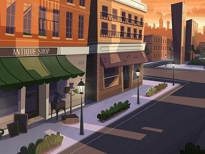 Antique Shop shadowing shadows landscape atmosphere city sun cartoon series dusk animation educational series background illustration