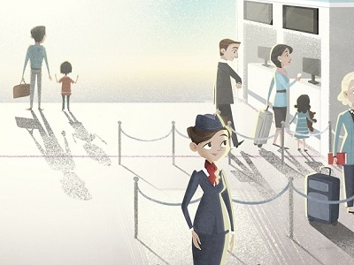 Where would you like us to take you today? character modern look airport background cartoon series animation