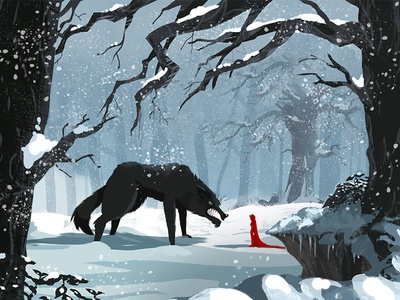 The Red and The Black cartoon series animation ae illustration photoshop after effects villain character forest design wolf