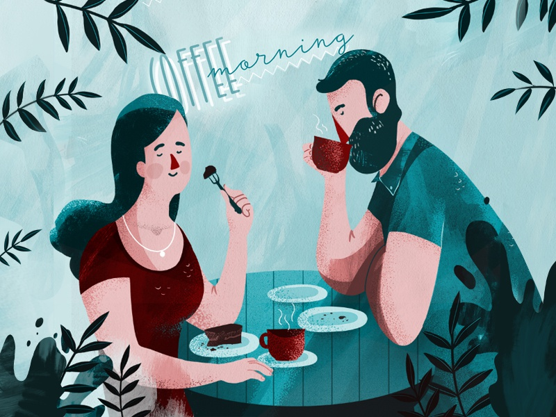 Rendezvous in the morning blue art breakfest design flat rendezvous coffee texture animation photoshop couple date