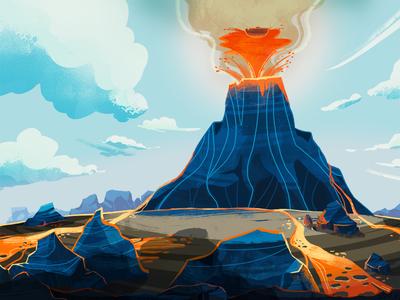 ERUPTION lava fire vulcano animated video animated series photoshop illustration background animation