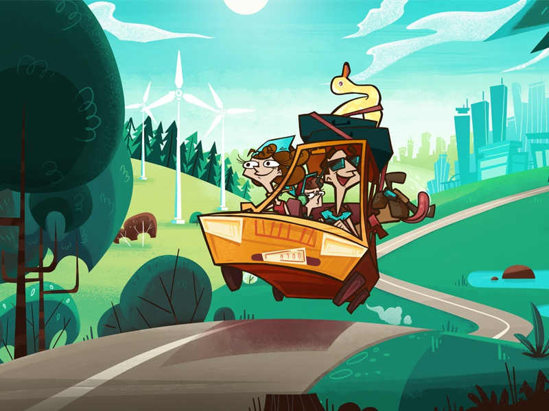 On Holiday :) holidays dog forest character animated video cartoon series photoshop renewable energy family car landscape animation