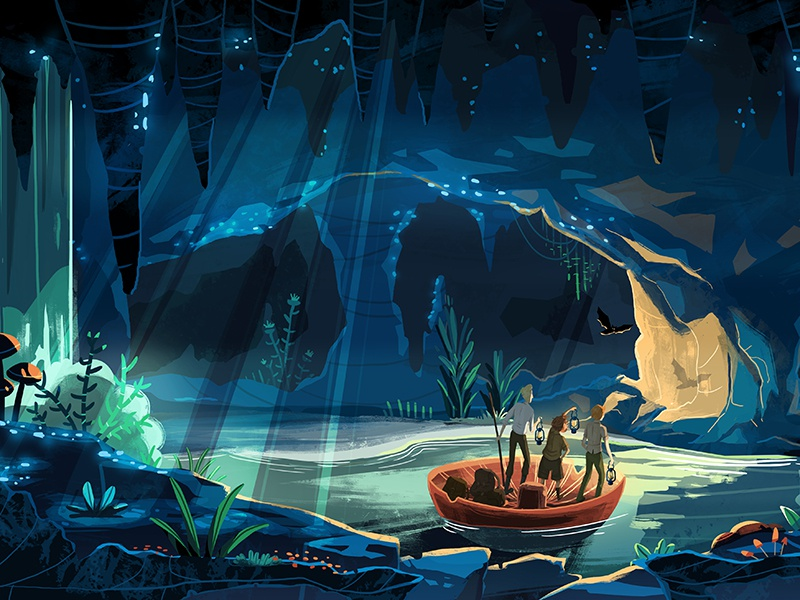 And So The Adventure Begins caves adventure bat cave character animated series photoshop illustration background animation